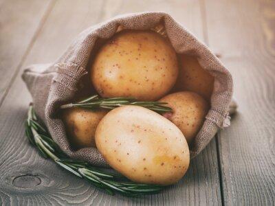 Наклейка ребенок картофель в мешок мешок с розмарином на деревянный стол, марочные тонированное