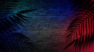 Наклейка Кирпичные стены, неоновые лучи и свечение