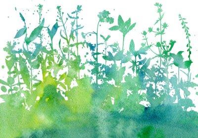Наклейка Фон с нанесением трав и цветов