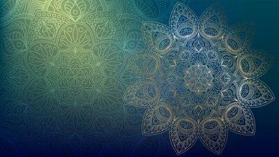 Наклейка Background with golden mandalas, round indian pattern, muslim pattern