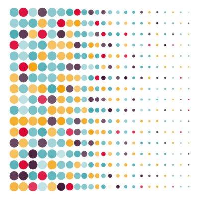 Наклейка Фон с цветными пунктирными кругами в векторе