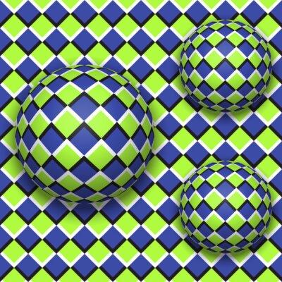 Наклейка Шары катятся. Аннотация вектор бесшовные модели с оптической иллюзии движения.