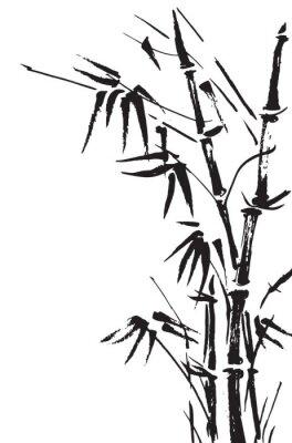 Наклейка Ветвями бамбука, изолированных на белом фоне. Вектор