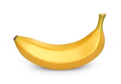 Наклейка Банан фрукты, 3D изображения. Иллюстрация на белом фоне