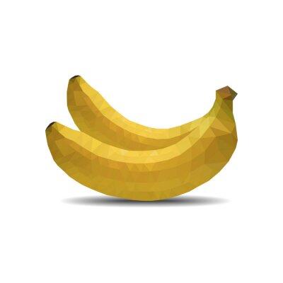 Наклейка банан многоугольник на белом фоне изолировать векторные иллюстрации 10 EPS