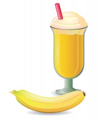 Наклейка Banana shake with straw vector