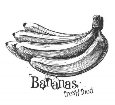 Наклейка бананы на белом фоне. эскиз