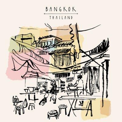 Наклейка Бангкок Таиланд рисованной открытку