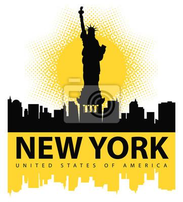 Наклейка баннер с Статуя Свободы на фоне Нью-Йорка, и солнце