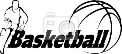 Наклейка Баскетбол Поездка в корзину со стилизованными мяч со словом Basketba