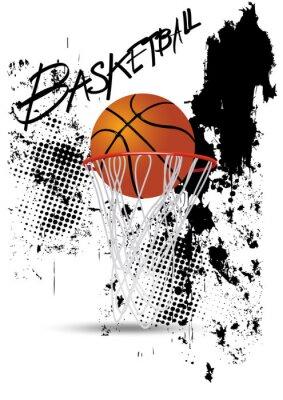 Наклейка баскетбольное кольцо на белом фоне гранж