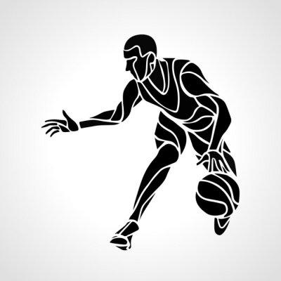 Наклейка Баскетболист абстрактный силуэт