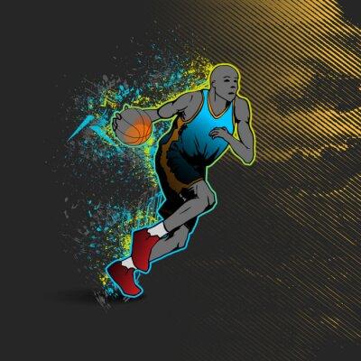 Наклейка Баскетболист дриблинг мяч