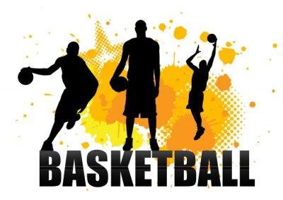 Наклейка баскетболист в действии с гранж фоне