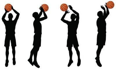 Наклейка Коллекция баскетболисты силуэт в положении стрелять