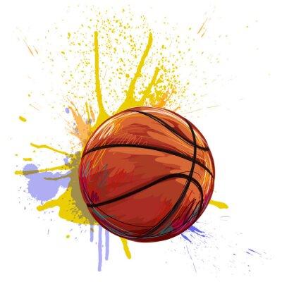 Наклейка Баскетбол создан профессиональный художник. Эта иллюстрация создается Wacom tabletby помощью гранж текстуры и кисти
