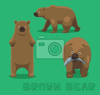 Наклейка Медведь бурый медведь мультфильм векторные иллюстрации