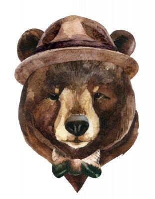 Наклейка Медведь голова акварель