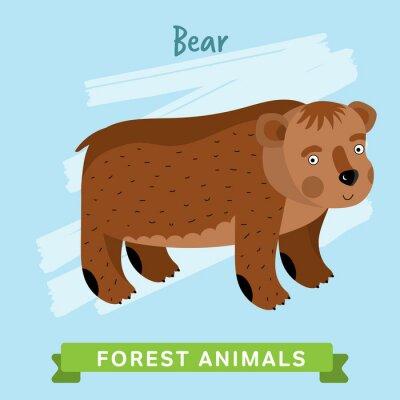Наклейка Медведь растра. Дикие и лесные животные. Мультфильм символов иллюстрации. Смешные животных.