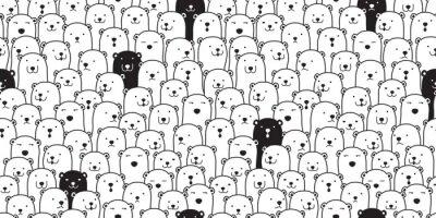 Наклейка Медведь бесшовные модели вектор полярный медведь породы шарф изолированные карикатура иллюстрации плитка фон повторить обои каракули