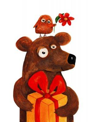 Наклейка Медведь с совой с настоящее время. Акварель, гуашь Иллюстрация