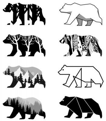 Наклейка медведи установлены