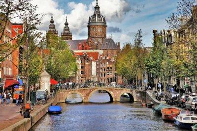 Наклейка красивые Амстердам каналы