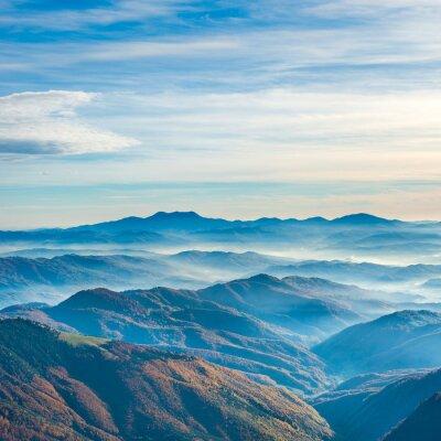 Наклейка Красивые голубые горы и холмы