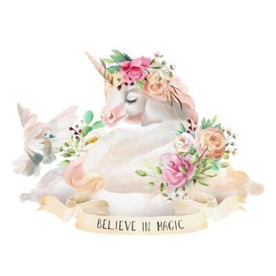 Наклейка Красивый, милый, акварель мечтает единорог на облаке с цветами, цветочный букет, голубь и лента с цитатой, изолированных на белом