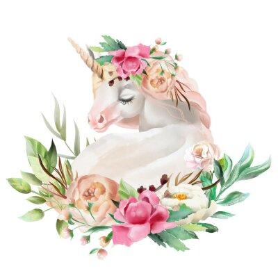 Наклейка Красивый, милый, акварель мечты единорога с цветами, цветочный букет, изолированных на белом
