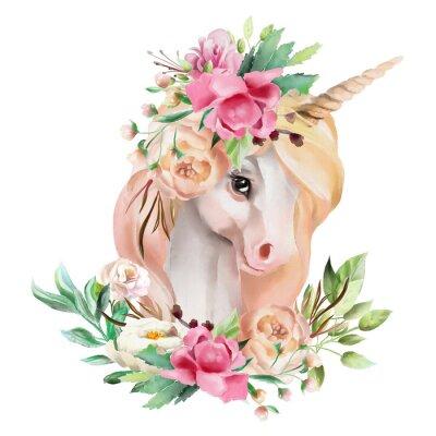 Наклейка Красивая, симпатичная, акварельная голова единорога с цветами, цветочная корона, букет, изолированных на белом