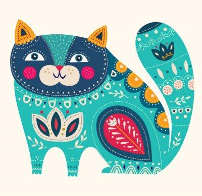 Наклейка Красивая декоративная вектор кошка в синем цвете