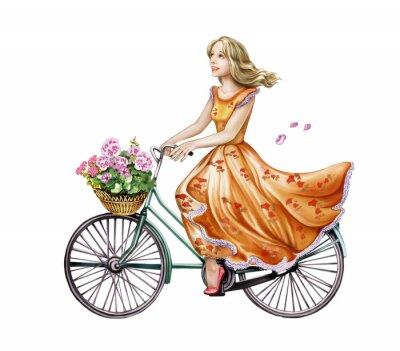 Наклейка красивая девушка в платье на велосипеде