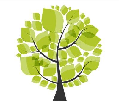 Наклейка Красивый зеленый дерево на белом фоне векторных иллюстраций.