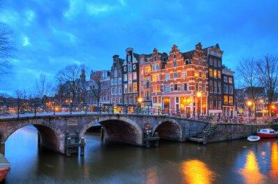 Наклейка Красивые длинные экспозиции HDR изображение Brouwersgracht в Амстердаме, Нидерланды, в список Всемирного наследия ЮНЕСКО.