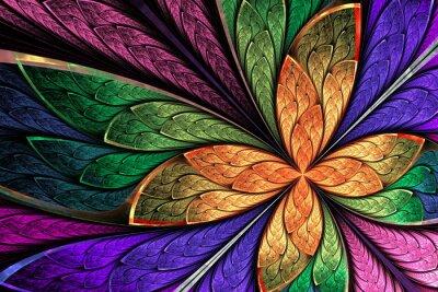 Наклейка Красивые разноцветные фрактал цветок или бабочка в окрашенном ГЛ