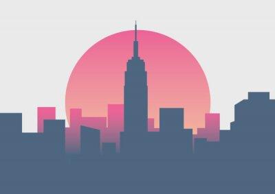 Наклейка Красивый нью-йоркский восход минимальный восход