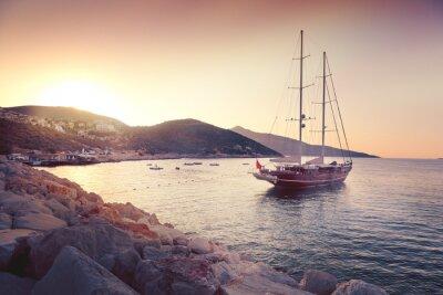 Наклейка beautiful seascape with big sailing boats