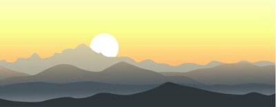 Наклейка Красивый закат в горах. Горизонтальный вектор пейзаж.