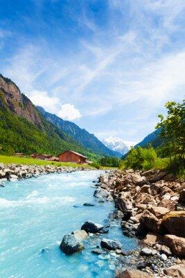 Наклейка Красивая Швейцарский пейзаж с реки поток