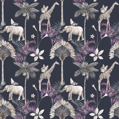 Наклейка Beautiful vector african safari animal tropical seamless pattern. Trendy style. Print with elephants and giraffe. Dark background,