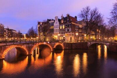 Наклейка Прекрасный вид на Амстердам каналов с моста и типичная голландская