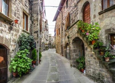 Наклейка Прекрасный вид старых традиционных домов и идиллической переулку в исторической части города Vitorchiano, Витербо, Лацио, Италия