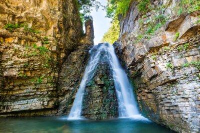 Наклейка Красивый водопад в лесу