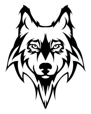 Наклейка Голова волка Красивая tattoo.Vector волк как элемент дизайна на изолированных фоне