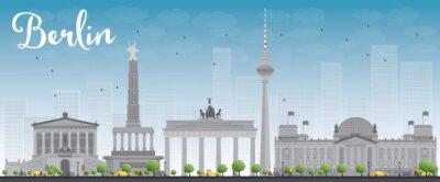 Наклейка Берлин горизонта с серого здания и голубое небо.
