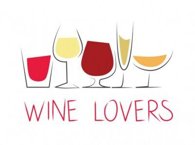 Наклейка Bicchieri ди вино differenti кон dicitura