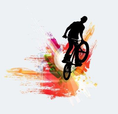 Наклейка Велосипедный джемпер, спортивный фон