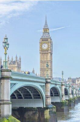 Наклейка Биг-Бен с Вестминстерского моста и реки Темзы в Лондоне