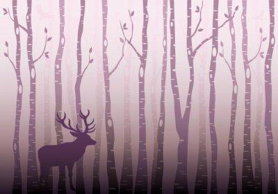 Наклейка Береза лес, вектор